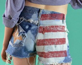 Destroyed 70s Levi Shorts Denim Cutoffs Upcycled High Waisted Jean Shorts Frayed Denim Cutoff Shorts USA American Flag Shorts 29 Waist