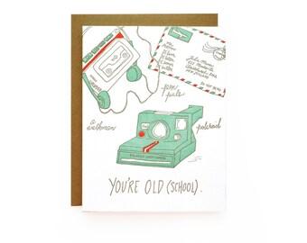 Old School - letterpress card