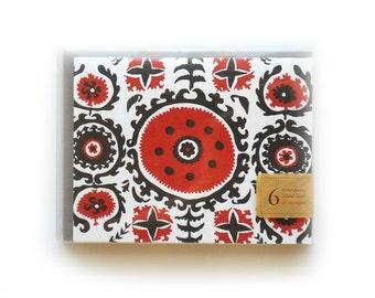 Suzani Letterpress Cards, set of 6