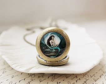 Mermaid Pocket Watch Necklace in Antique Brass. Teal. Gift for her under 40 usd.
