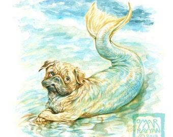 Sea Pug (print) mermaid ocean dog humor