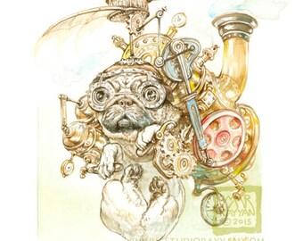 Steampug (print) steampunk pug dog humor