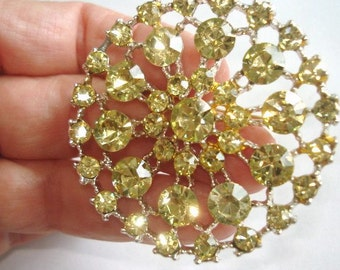 Flowers Vintage Jewelry Silver Tone Lemon Yellow   Rhinestone  Circle Brooch