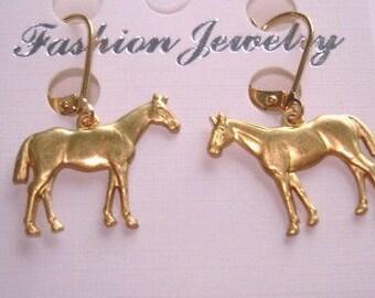 Horses Gold Tone Dangle Earrings