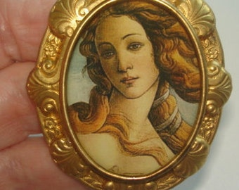 Art Nouveau  Lady in Flower Garden Vintage Jewelry  Brooch Gold Tone