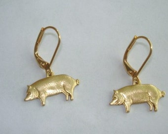 Pig  Gold Tone  Dangle  Jewelry Earrings