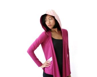 CLEARANCE SALE - Yoga Wrap, Organic Cotton Sweater, Organic Sweater, Pink Sweater, Convertible Wrap, Honeycomb Print, Long Sleeve - KANA
