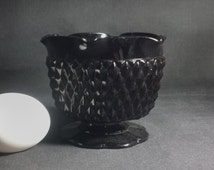 Tiara Glass Cameo Black Single Candleholder / MCM Pressed Black Indiana Glass Diamond Point Candle Holder / Gothic Black Wedding Glass