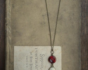 Vintage Button Necklace - Cherries and Cream