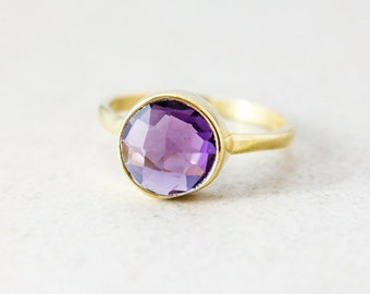 Gold Purple Amethyst Ring - Gemstone Ring, Stackable ring - February Birthstone Ring