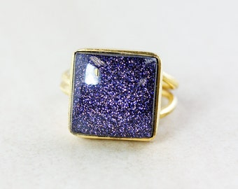 Square Statement Sunstone Ring - Midnight Blue Sunstone