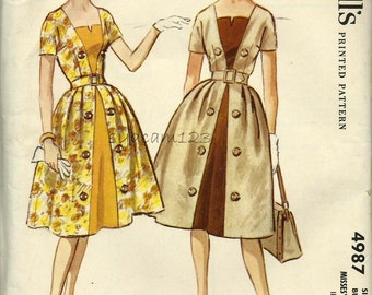 Vintage 1950s Pattern Square Neckline Dress Contrast Inset Double Breasted Button Trim 1959 McCalls 4987 Bust 38 UNCUT