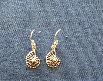 Sterling silver nautilus earrings