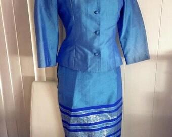 Sale Fantastic Vintage Blue Raw Silk Sari Material 2 Piece Ladies Suit Pencil Skirt and Jacket