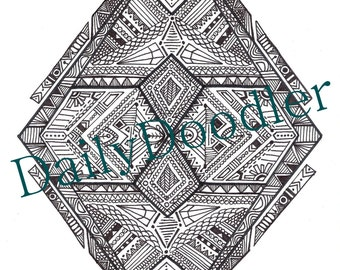 Adult Coloring Page - Geometric Diamond - Instant Download - Zentangle - Doodle Illustration - DailyDoodler - Unique Tribal Diamond Drawing