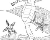 Seahorse and Starfish, coloring page, digital download