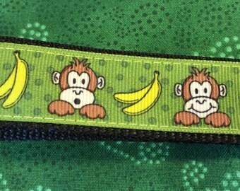 Adorable Monkeys with Bananas Ribbon Key Fob Keychain wristlet