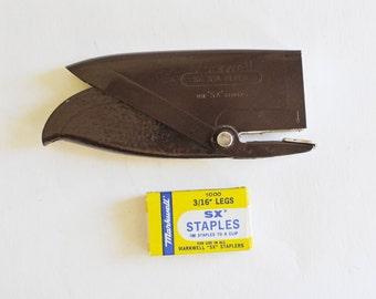 Vintage Stapler, Markwell SX Staples, Industrial Office Set, Vintage Desk Set, Brown Stapler, Boxed Staples, SX Sta-Plyer, hand stapler