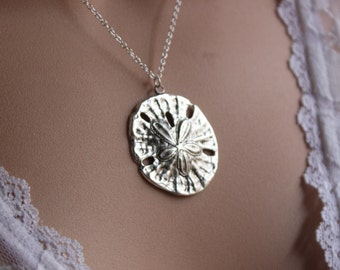 Sterling Silver Plated Sand Dollar, Sand Dollar Necklace, Sand Dollar Pendant Sand Dollar Jewelry Beach Wedding