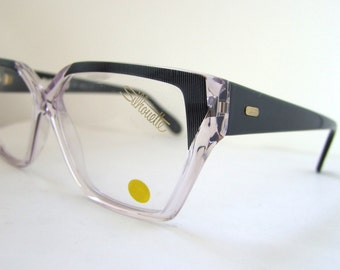80s / 90s Hipster Designer Silhouette Eyeglasses // Silver Blue and Clear Frames MINT New old stock. Model c1445
