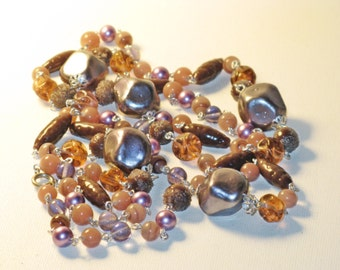 Vintage Long Smokey Gray and Amethyst Art Glass Necklace (N-1-2)