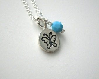 Dainty Butterfly Necklace, Butterfly Chram Necklace, Butterfly Necklace Girls, Silver Butterfly, December Birthstone,Birthday Gift Teen Girl