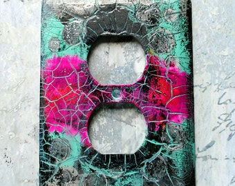 SALE- Hot Pink Abstract, switch plate or outlet cover, mixed media abstract, hot pink, gray, turquoise, black