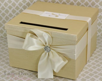 Wedding Card Box Champagne Gold Ivory Money Holder Customizable