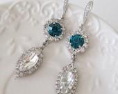 Blue Chandelier Earrings Blue Bridal Earrings Statement Earrings Vintage Victorian Teardrop Earrings Teal Blue Zircon AAOK Wedding Jewelry