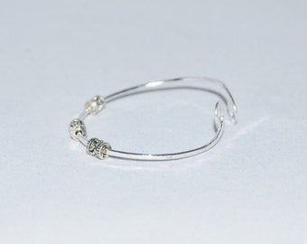 Sterling Silver Bangle Bracelet Swirled and Beaded