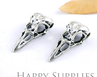 4Pcs High Quality  Antiqued Silver Plated Bird Head Skull Charms / Pendants (12145)