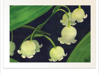 flower art print, lily of the valley flowers, botanical watercolor, wall art, 8x10 art print