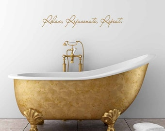 relax rejuvenate repeat wall decal bathroom wall decal bathroom decor washroom decal