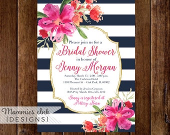 Bridal Shower Invitation, Floral Navy Blue and White Stripes Shower Invitation, Gold Glitter Bridal Shower, Watercolor Floral, DIY Printable