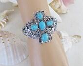 Turquoise Cross Bracelet, Silver Cuff Bracelet, Christian Cuff Bracelet, Blue Cuff Bracelet, Large Cross Bracelet, Cuff Bracelet, B-227