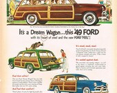 vintage mid century american classic car illustration ford woody station wagon advertisement digital download