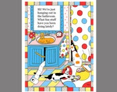 Cat in the Sink Card Art Print Cats in the Bathroom Orange Tabby Tuxedo Toilet Paper