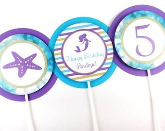 Mermaid Party Centerpiece Sticks, Mermaid Birthday Centerpiece, Mermaid Centerpiece, Mermaid Party Decorations - SET OF 3