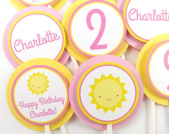 You Are My Sunshine Party Cupcake Toppers, Sunshine Birthday Cupcake Toppers, Sunshine Party Decorations - SET OF 12