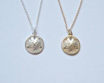 Sand dollar necklace - gold vermeil or sterling silver tiny starfish pendant seashell beach summer - everyday minimal jewelry - Rowan