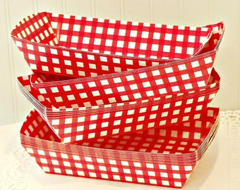 Kraft Food Tray, 6 Red Check Food Box Tray, Hot Dog Trays, BBQ, Picnic Food Plates, Red Gingham Plate Box, Kraft Tray, Cook Outs, Party Box