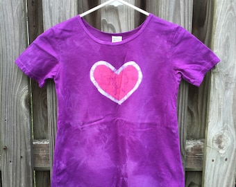 Purple Girls Dress, Girls Summer Dress, Short Sleeve Dress, Pink Heart Dress, Batik Girls Dress. Girls Purple Dress. A-Line Dress (6)