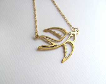 Sparrow pendant bib necklace on 14k gold plate chain, antique gold plated pendant