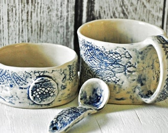 SALE 20% Off Tea Cup, Sugar Bowl and Handmade Spoon in Delft Blue Stoneware - Hand Formed Pottery Food Safe Lace Texture
