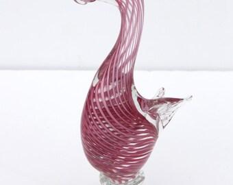 Vintage Mid Century Modern Pink and White Swirled Murano Art Glass Duck
