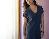 Navy Silky Dress - Navy Blue t-shirt dress / Pleaty tee dress in Tencel