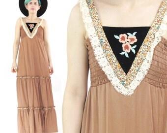 30% OFF SALE 70s Prairie Maxi Dress Boho Lace Festival Dress Black Velvet Ruffle Mocha Brown Jersey Dress Floral Embroidered Hippie (XS/S)
