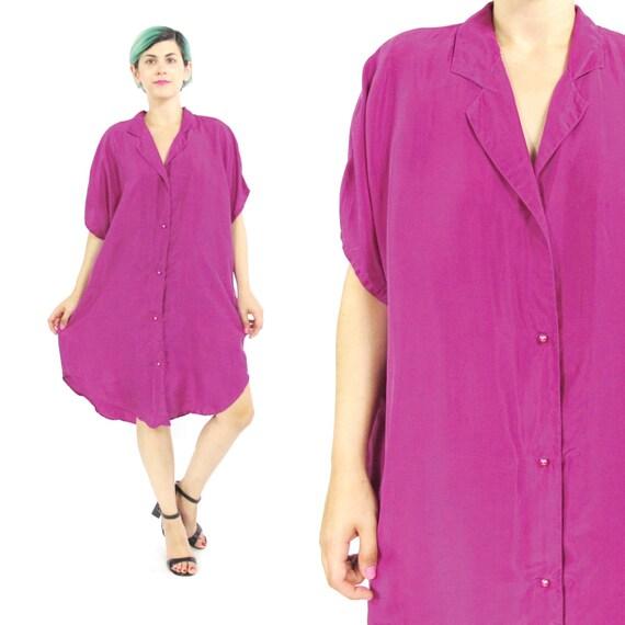 90s Silk Shirt Dress Pink Silk