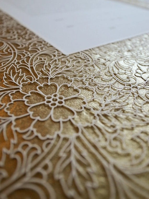 NEW Ketubah Papercut by Jennifer Raichman - Trellis - Metallic Gold