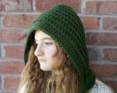 Green Crochet Hood Womens Hat Green Crochet Hat Pixie Hood Womens Accessories Winter Hat